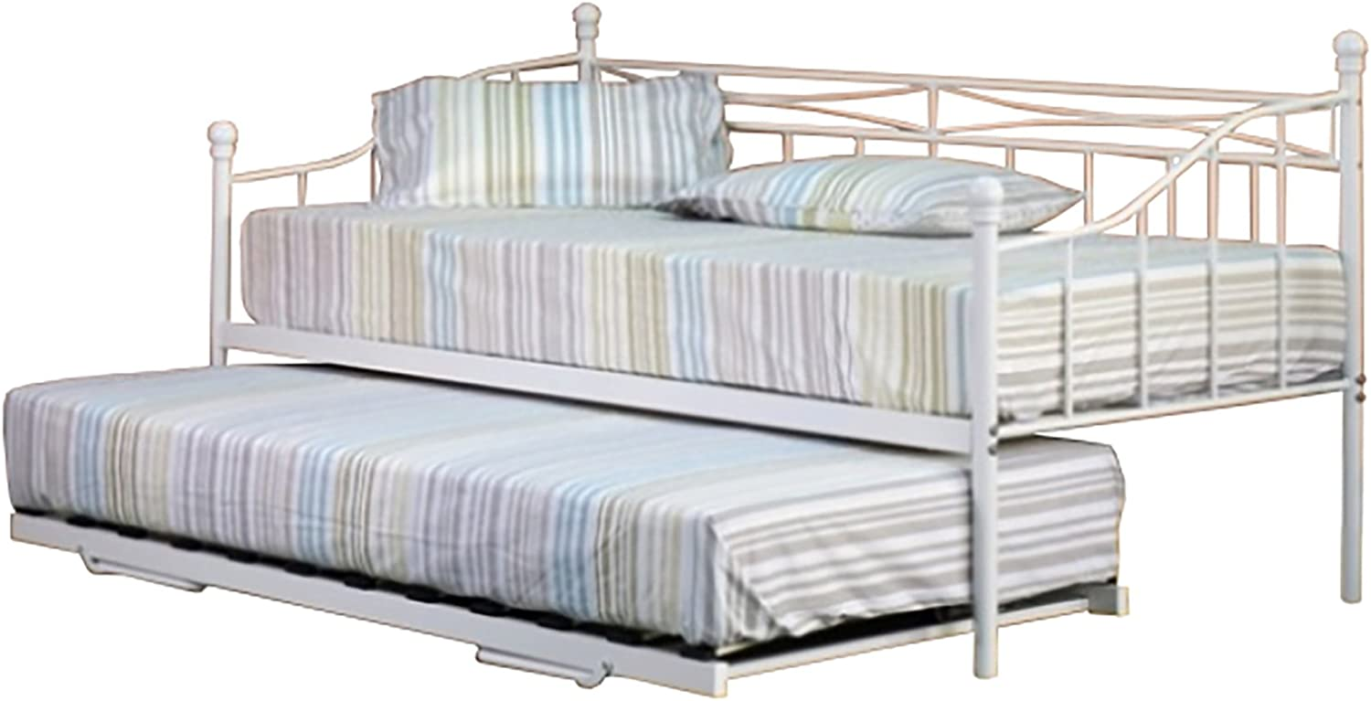 - Comfy Living 3ft Single White Paris Metal Daybed And Trundle With