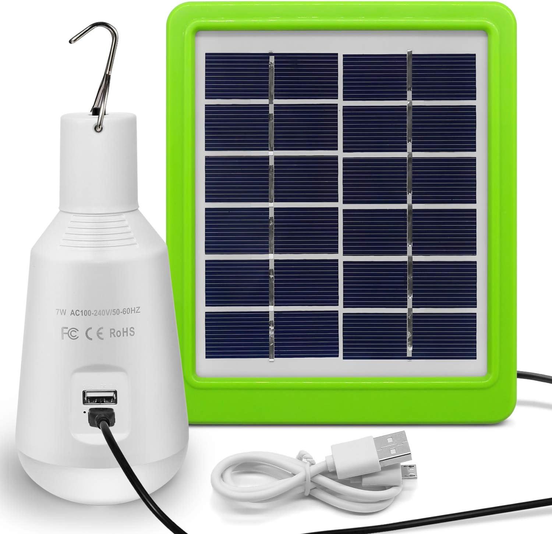 【Actualiza】Panel Solar de La Bombilla, Jirvyuk Lámparas Solares Bombilla7W 560LM Portátil LED de Luz para Acampar Lámpara Portátil de Energía Solar al ...