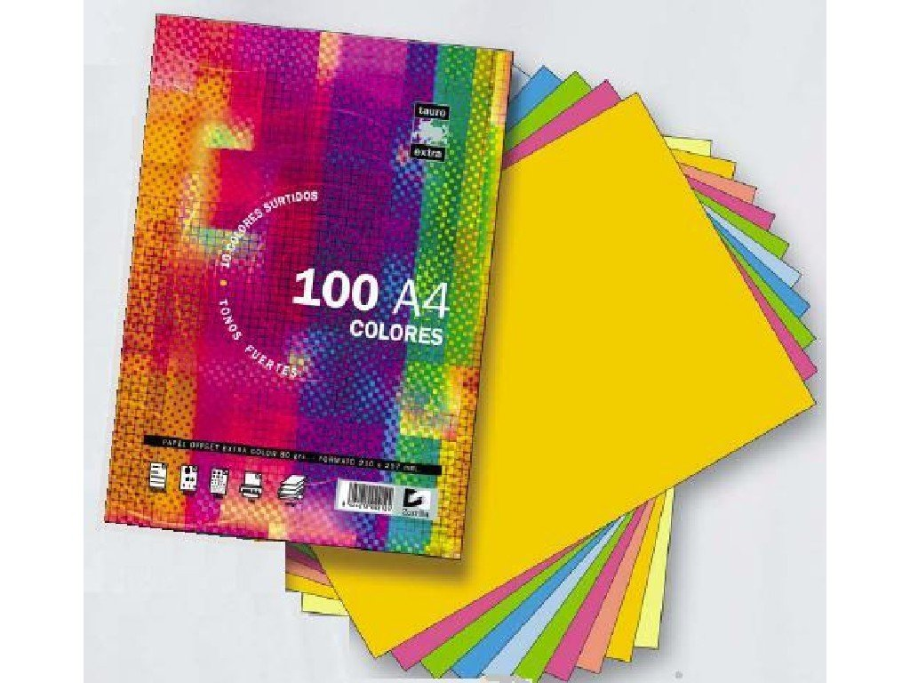 PACK A4 100H 80GR TAURO-EXTRA COLOR 10X10 SURTIDOS
