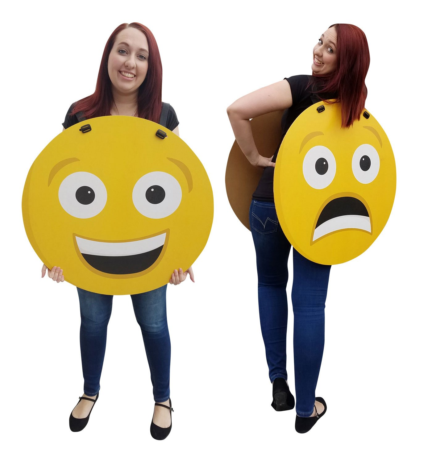 Happy/Sad Emoji Costume - Advanced Graphics Cardboard Costume