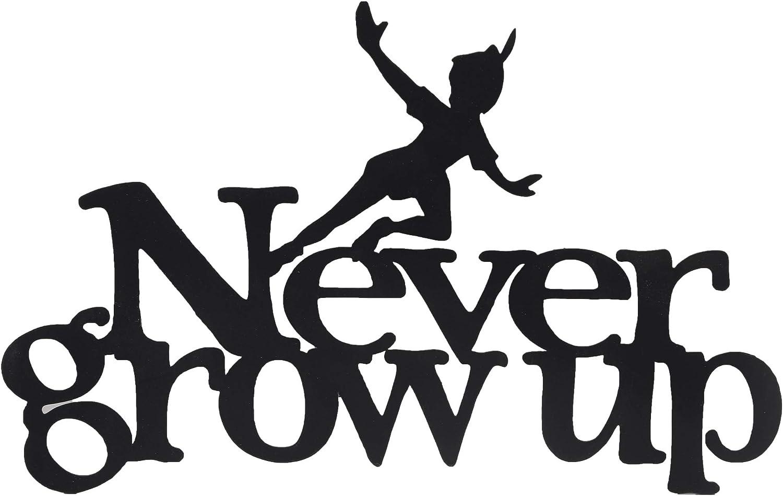 Open Road Brands Disney Never Grow Up Peter Pan Laser Cut Metal Sign