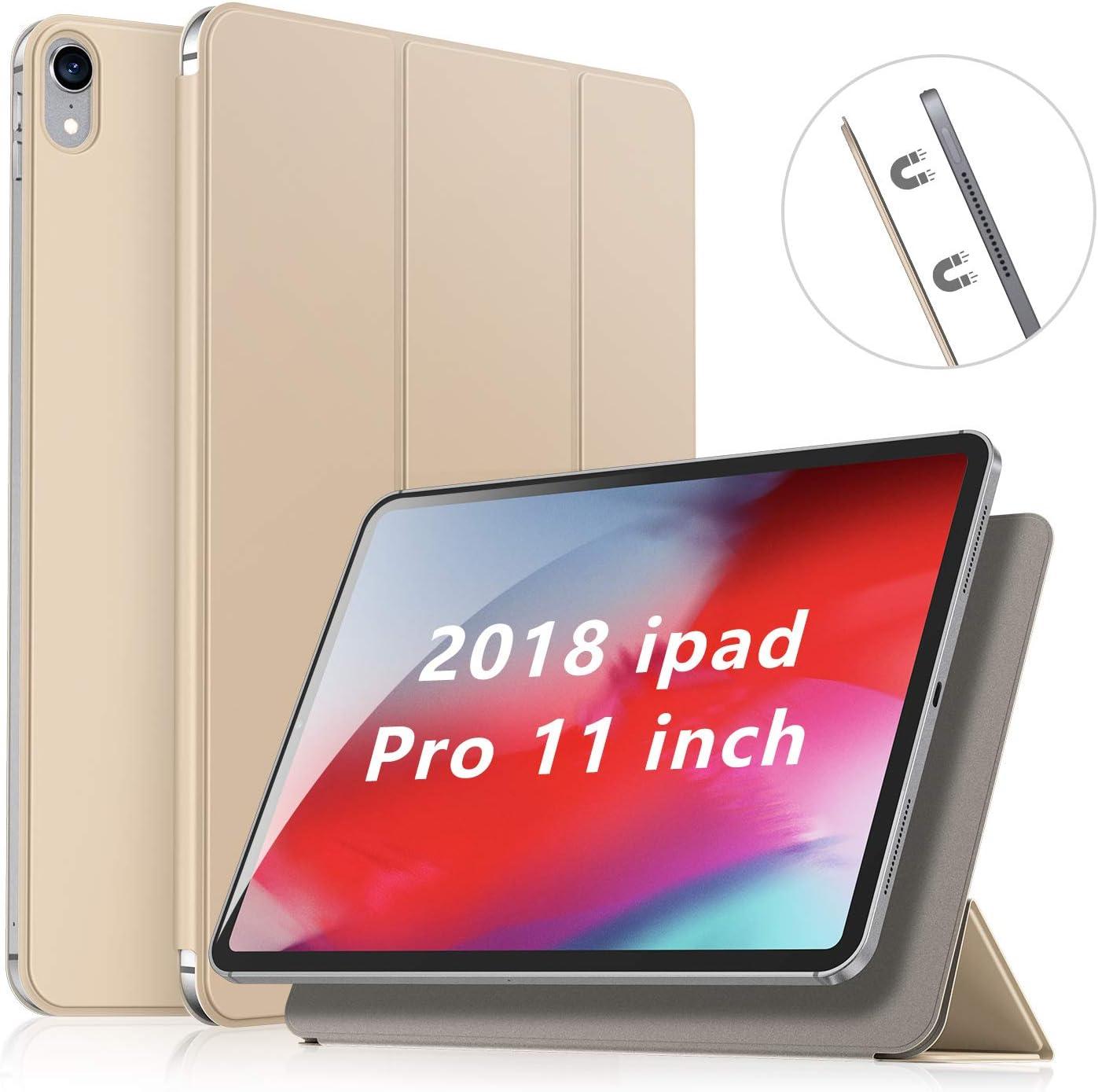 SmartDevil Funda Compatible iPad Pro 11 Pulgadas Modelo 2018, No para el Modelo 2020, Carcasa Folio Ligera con Tapa Inteligente/Reverso Translúcido, Oro Rosa