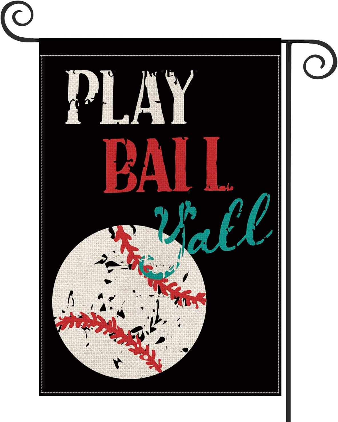 AVOIN Baseball Garden Flag Vertical Double Sided, Play Ball Y'all Flag Yard Outdoor Decoration 12.5 x 18 Inch