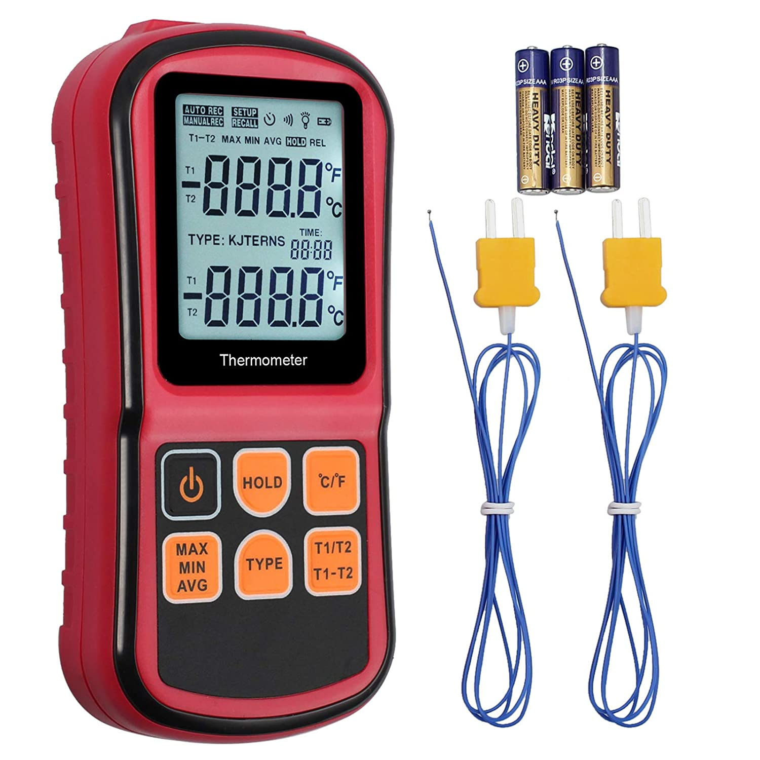 Kamtop Digital Thermometer Dual Channel Thermometer with Two K type Thermocouples Temperature Meter with LCD Backlight for K// J// T// E// R// S// N Thermocouple
