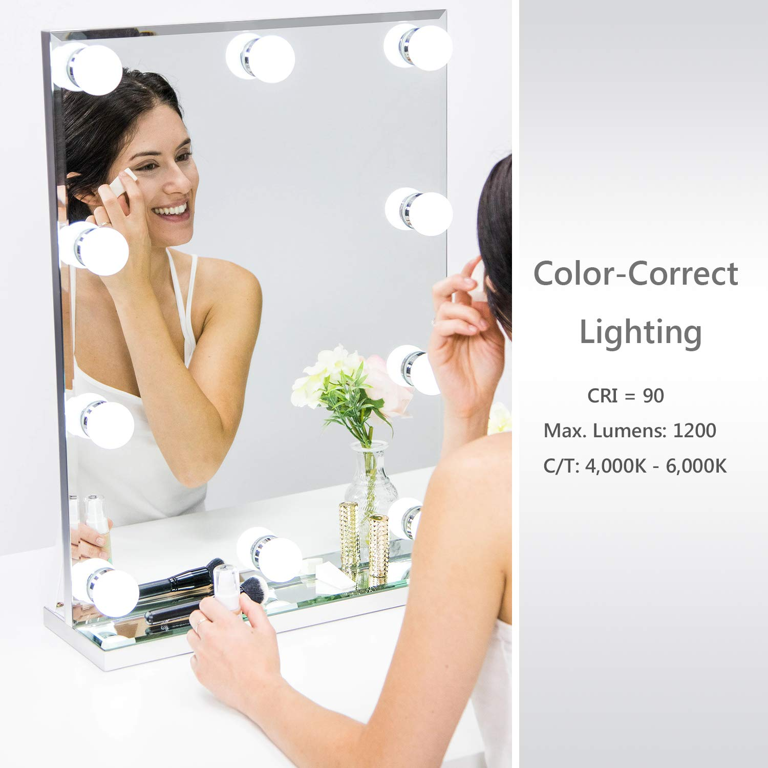 Waneway Hollywood Lighted Vanity Makeup Mirror with Bright LED Lights, Light-up Frameless Dressing Table Cosmetic Mirror with Dimmable Bulbs, Multiple Color Modes (Standard) by Waneway (Image #2)