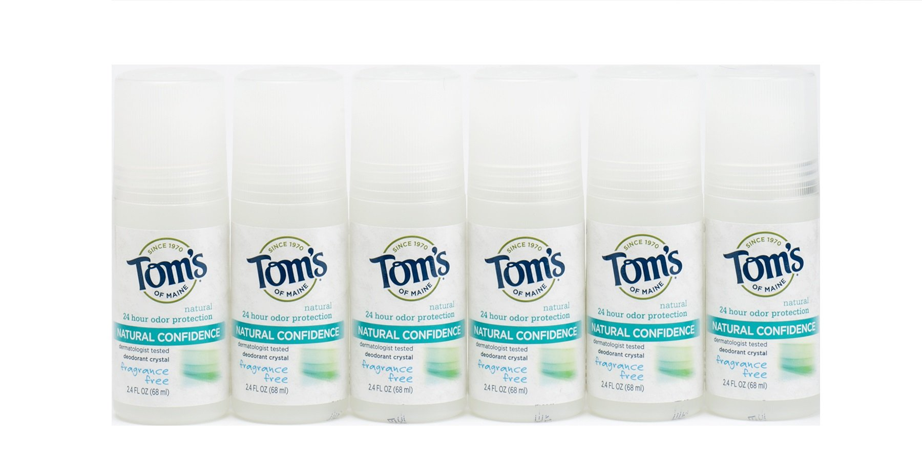 Tom's of Maine Fragrance Free Natural Confidence Roll-On Deodorant, 2.4 Ounce, Pack of 6