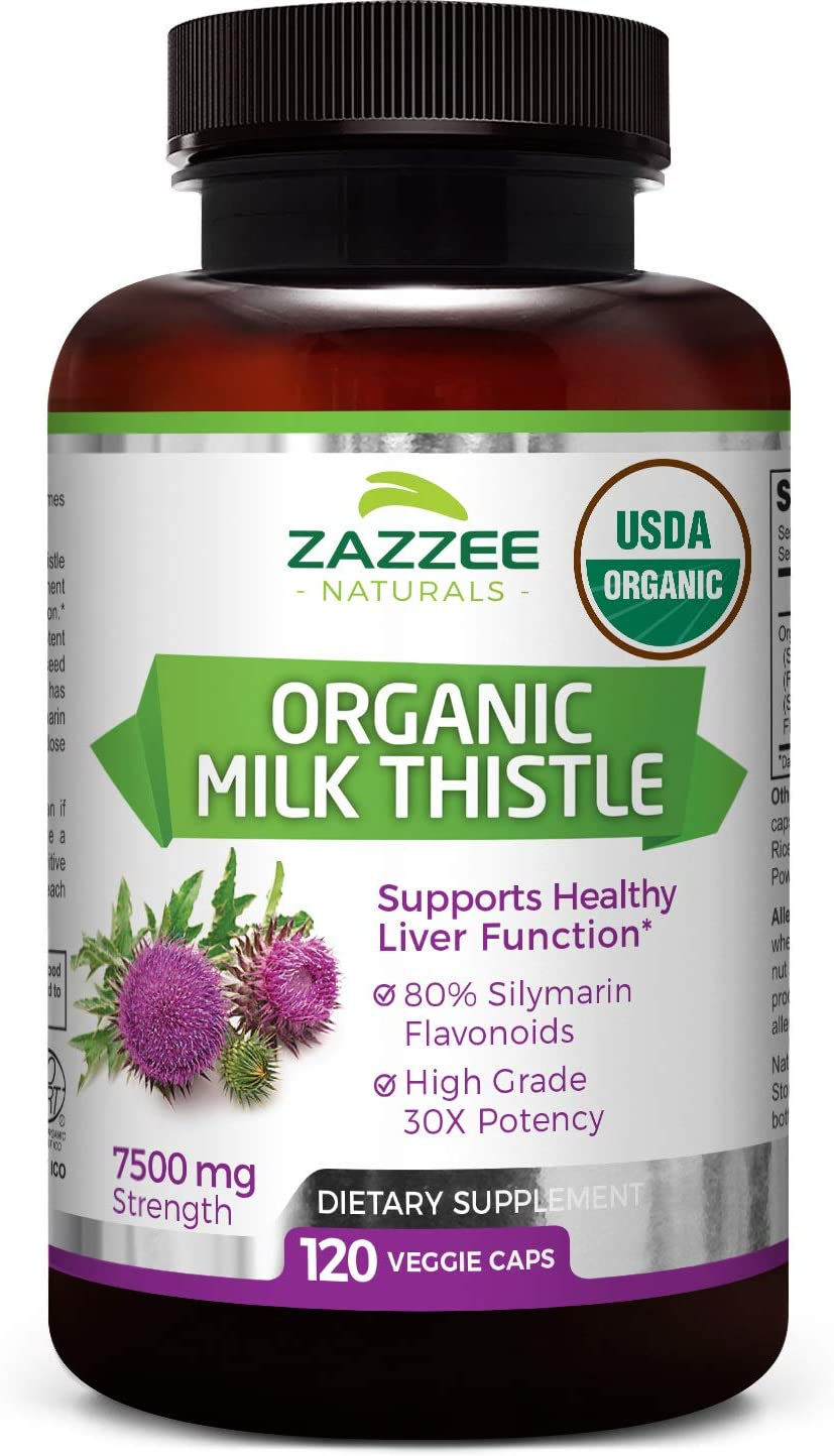 Zazzee USDA Organic Milk Thistle Extract Capsules, 120 Count, Vegan, 7500 mg Strength, 80 Silymarin Flavonoids, Potent 30 1 Extract, USDA Certified Organic, Vegan, Non-GMO and All-Natural
