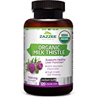 Zazzee USDA Organic Milk Thistle Extract Capsules, 120 Count, Vegan, 7500 mg Strength, 80% Silymarin Flavonoids, Potent 30:1 Extract, USDA Certified Organic, Vegan, Non-GMO and All-Natural