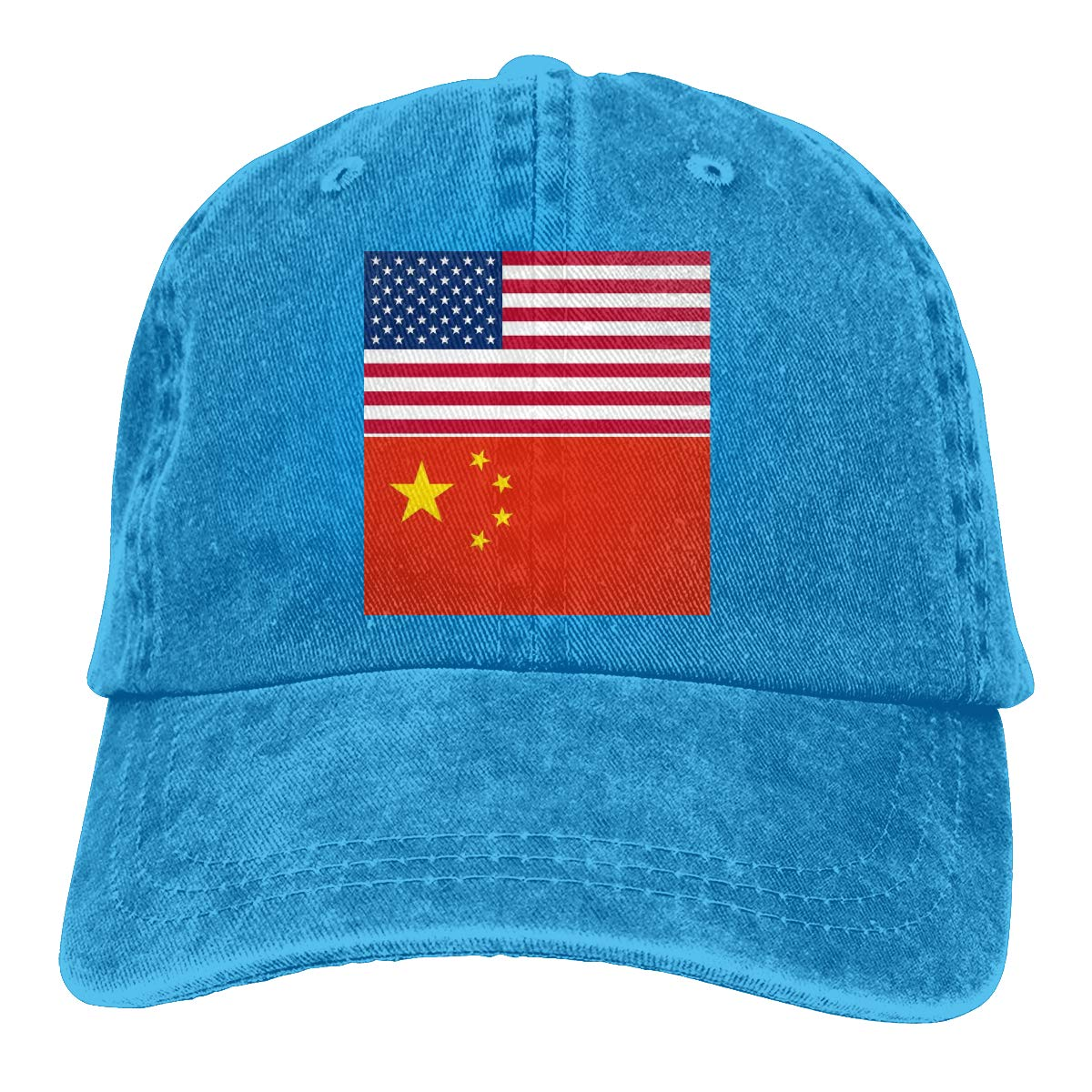 PMGM-C American Flag and Chinese Flag Unisex Trendy Cowboy Hip Hop Cap Adjustable Baseball Cap