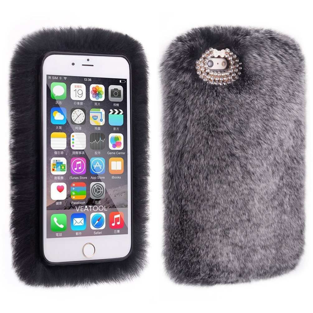 4.7 '' Winter Soft Warm Furry iPhone 6s Cover, Sammid Girl Luxury Bling Diamond Fuzzy Fur Case for iPhone 6/6s (iPhone 6/6s, Dark Grey) by Sammid