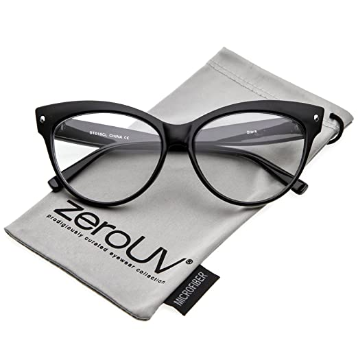 220ab98f0724 Amazon.com: zeroUV - Women's Oversize Wide Arms Clear Lens Cat Eye  Eyeglasses 58mm (Black/Clear): Clothing