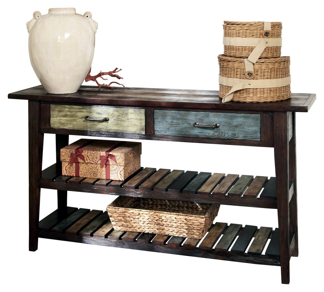 Ashley Furniture Signature Design - Mestler Sofa Table - Rustic Style Entertainment Console - Rectangular - Brown with Multi Colored Shelves by Signature Design by Ashley
