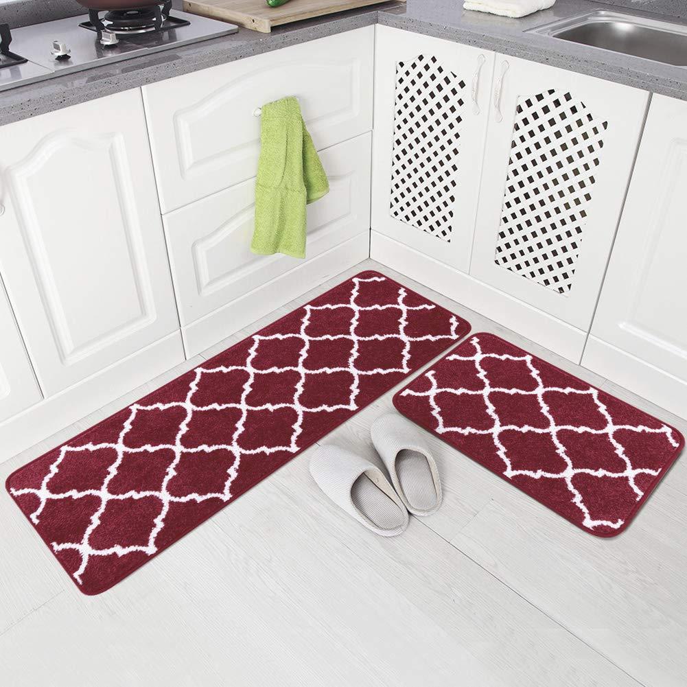 "Carvapet 2 Pieces Microfiber Moroccan Trellis Non-Slip Soft Kitchen Mat Bath Rug Doormat Runner Carpet Set, 17""x48""+17""x24"", Burgundy"