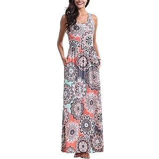Zattcas Women Floral Tank Maxi Dress Pocket Sleeveless Casual Summer Long Dress (Medium, Multi Coral)
