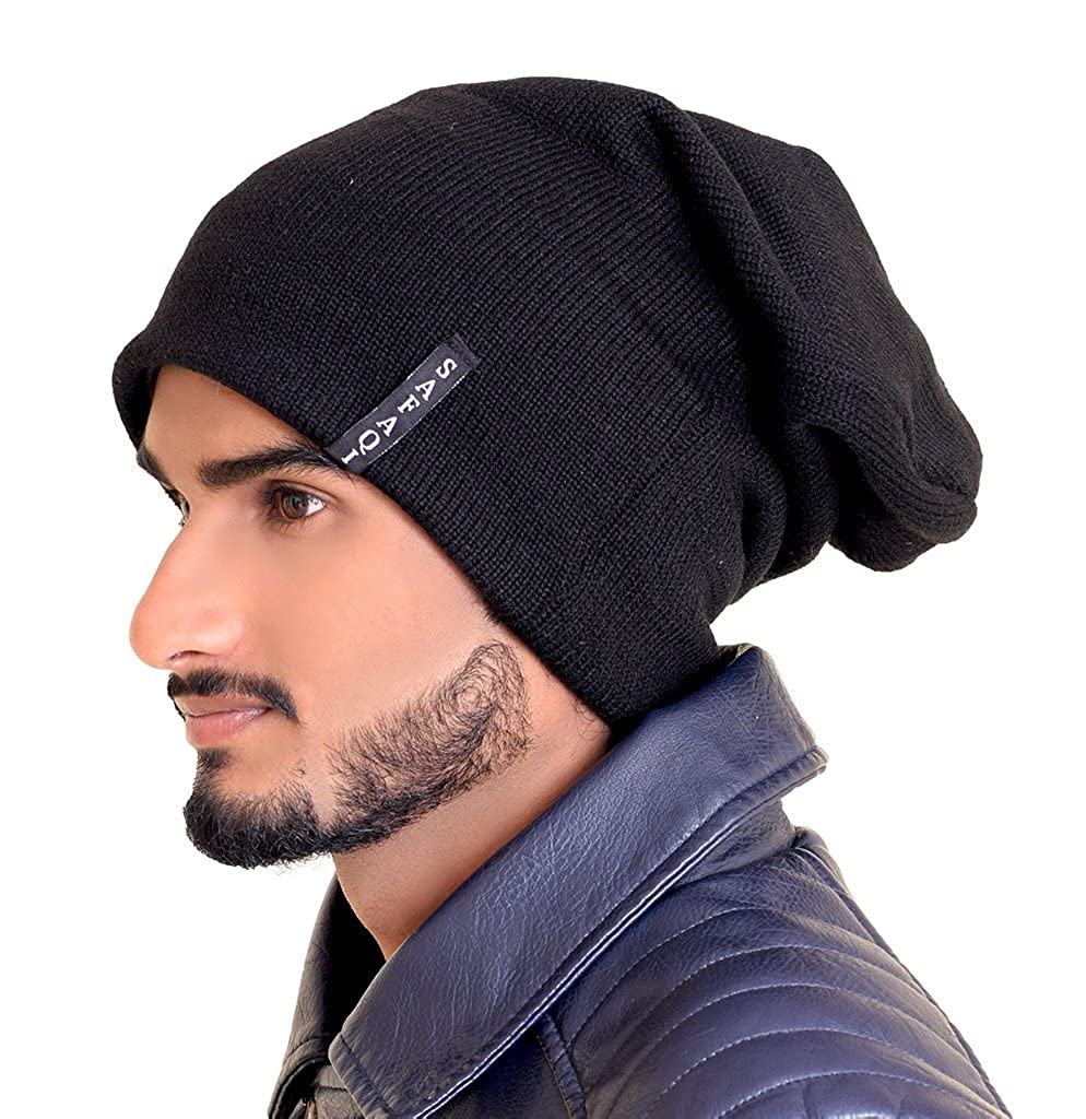 79fb9dfe3 SAFAQI Unisex Winter Woolen Beanie Caps - 100% Acrylic Wool with Cotton  Spandex Fabric