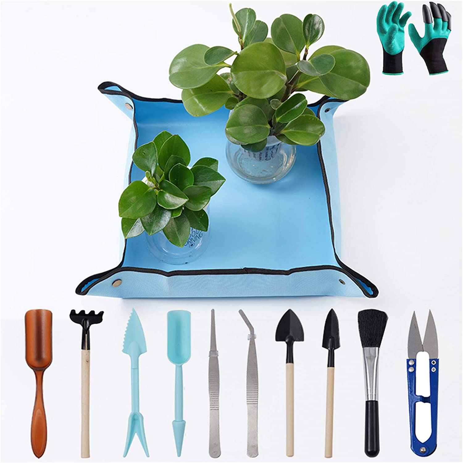 "Potting Mat 20x20"" Square Garden Repotting Mat with Garden Tools Set & Garden Gloves for Indoor and Outdoor Use Keep Your Table Balcony Floor and Clothes Clean Small Size"