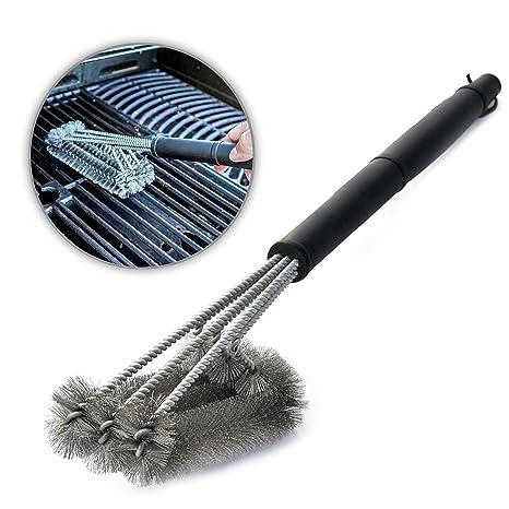 Aodoor 3 en 1 Cepillos para barbacoas, Cepillo de Parrilla Limpieza de Acero Inoxidable, 360°Limpieza de Parilla para Weber, Charbroil, Gas, ...