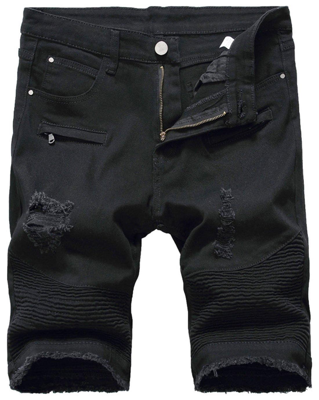Chouyatou Men's Cool Stylish Wrinkle Performance Slim Ripped Denim Shorts (36, Black)