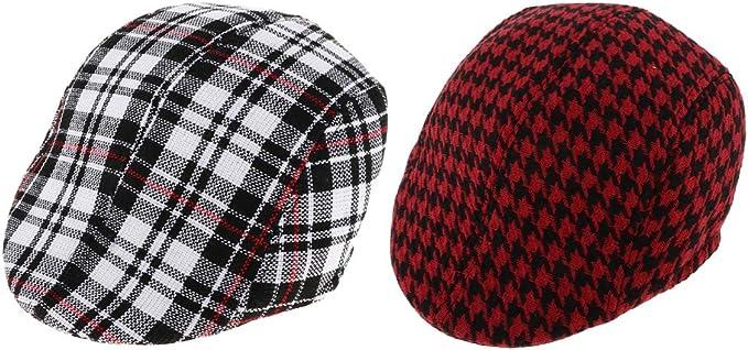 CUTICATE - Gorro escocés vintage bicolor para hombre de algodón ...