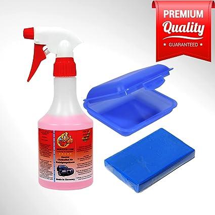 Lavado plastilina Juego Azul – Fein 100 g + Lubricante 500 ml + Caja para Laca de Auto cristal y llantas: Amazon.es: Coche y moto