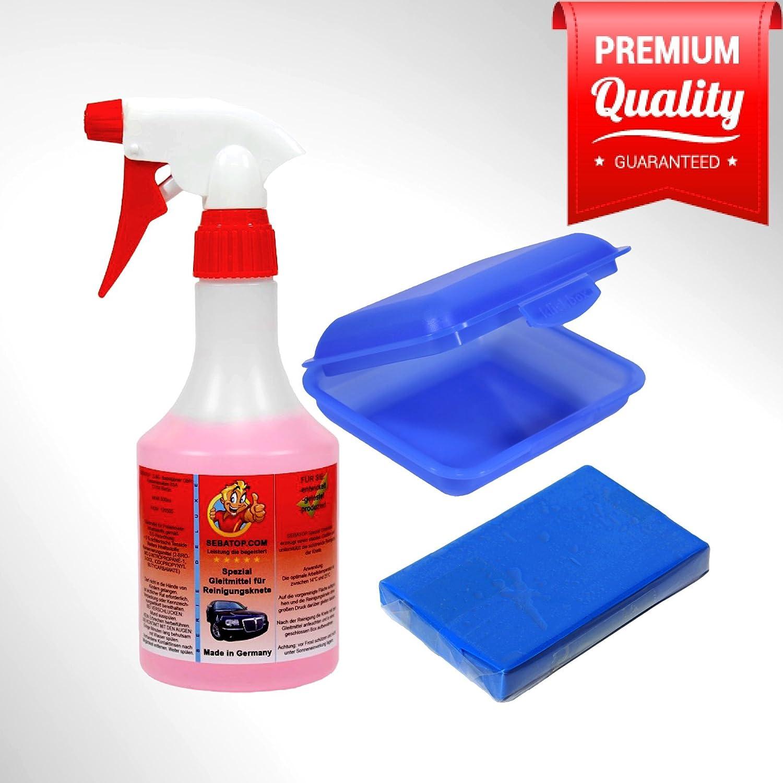 Lavado plastilina Juego Azul –  Fein 100 g + Lubricante 500 ml + Caja para Laca de Auto cristal y llantas Sepatop