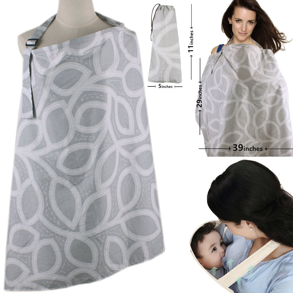Nursing Cover, ChuGii Lightweight Breathable 100% Cotton Breastfeeding Cover, Nursing Apron for Breastfeeding - Rigid Neckline (Grey1) Ltd.