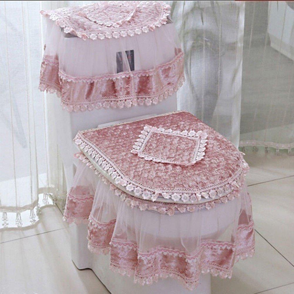 Etbotu Toilet Seat Cover Set,Flannel Cashmere Lace Printed Home Decoration,3Pcs-Water Tank Cover+Toilet Cover Seat+Toilet Seat by Etbotu