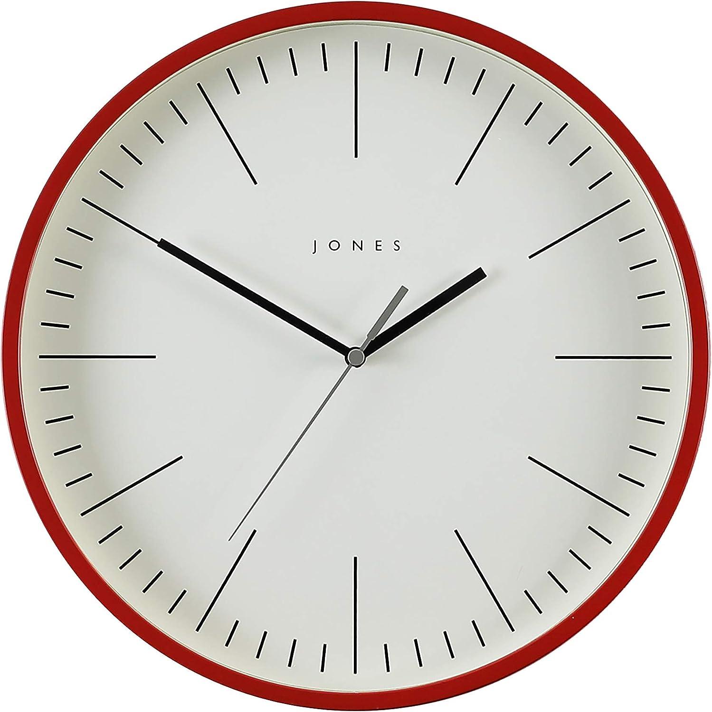 farbenes Zifferblatt Schwarze und graue Zeiger farbiges Geh/äuse 30 cm minimalistisches Design Gelb JONES CLOCKS/® Spartacus Wanduhr
