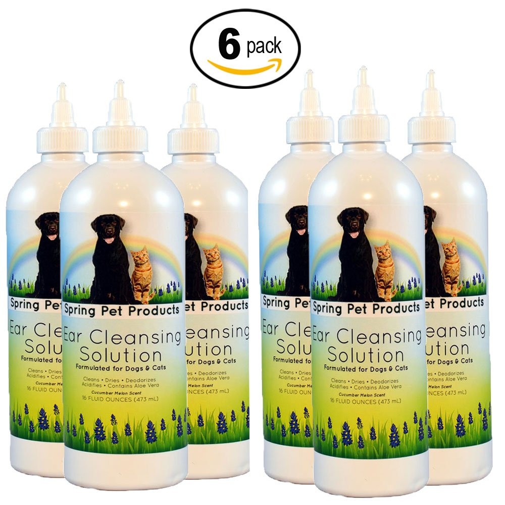 Spring Pet Ear Cleansing Solution for Dogs and Cats 16 oz (6 pack)