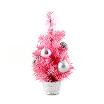 Pink Christmas Ornaments.Ids Home 12inch Mini Desk Top Table Top Decorated Christmas Tree With Bows Baubles Ornaments Decorations Pink