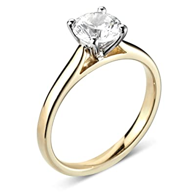 851cc04887a46 ABELINI 9K Yellow Gold Certified I1 HI 100% Natural Round Diamond Solitaire  Engagement Rings(Available in 0.10-1.00CT)  Amazon.co.uk  Jewellery