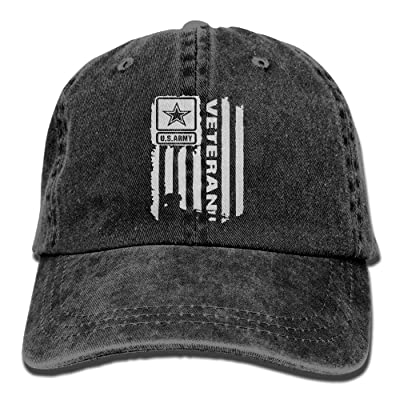 ICE-SALT Unisex Adult US Army Veteran Flag Vintage Cotton Denim Baseball Cap Hat