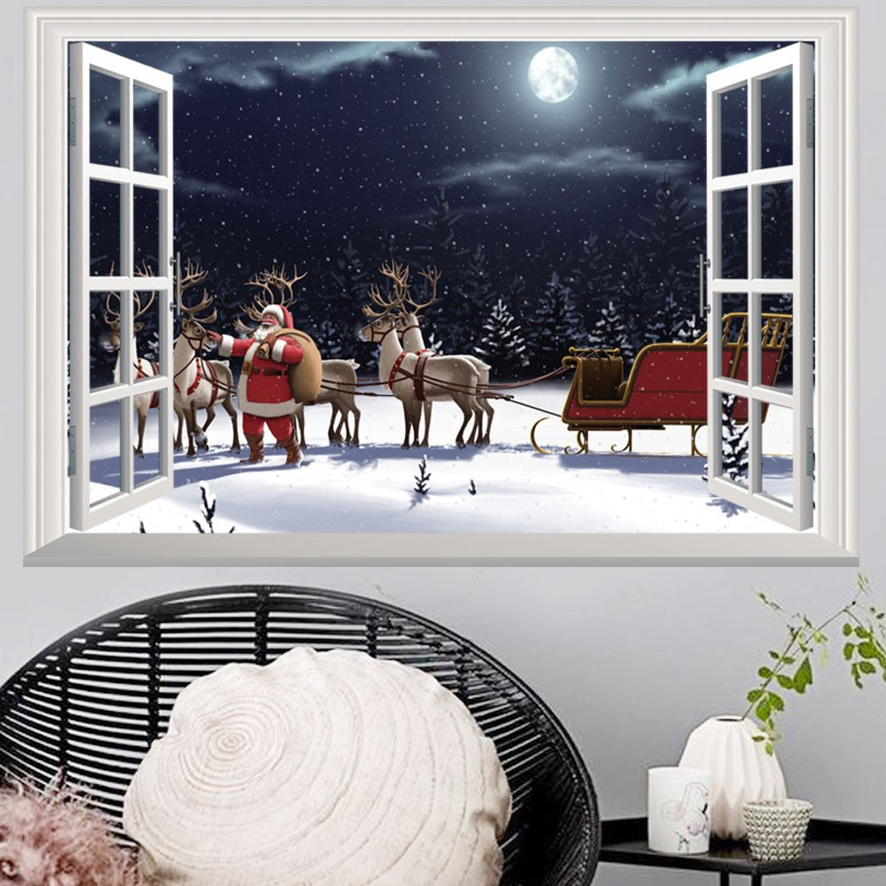 Christmas Xmas Wall Sticker,LEvifun Merry Christmas 3D Window Santa Reindeer Removable Vinyl Art Wall Window Door Home Decals Decor Decoration Sticker,72*48cm