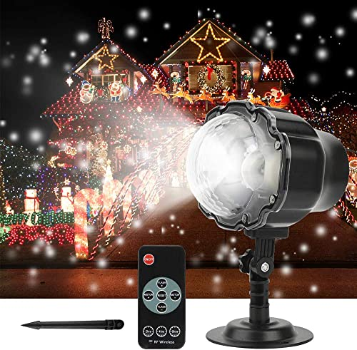 Austrobo Christmas Projector Light Snowfall LED Projector Waterproof Rotating Snow Projection with RF Remote Decorative Projector for Christmas, Halloween Party