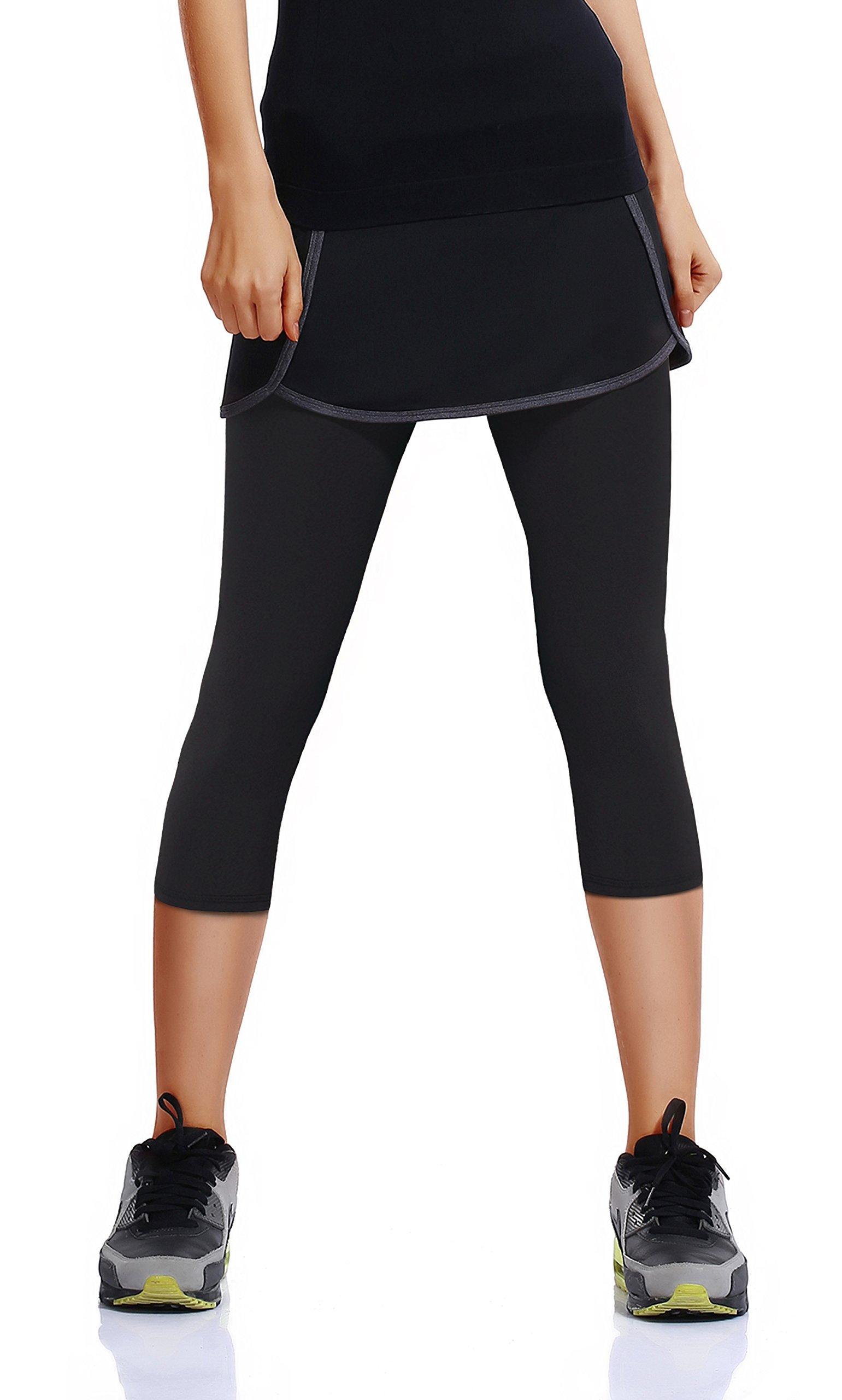 HonourSport Women's Running Skirted Capris Leggings Athletic Tennis Skort(Black,M)