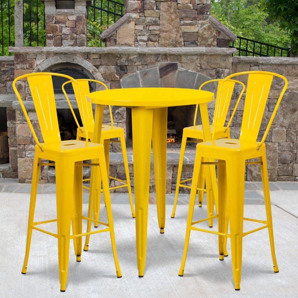 """Flash Furniture Commercial Grade 30"""" Round Yellow Metal Indoor-Outdoor Bar Table Set with 4 Cafe Stools"""