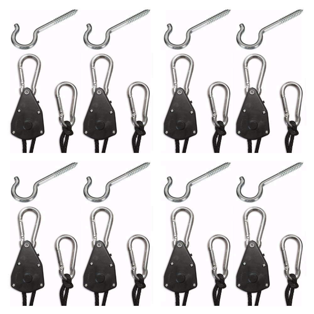 4 Pair - Adjustable, Ratcheting, Rope Hangers for Hanging Equipment, Indoor/Outdoor/Garage Storage and Tie-Downs with Screw-In Hook Hardware