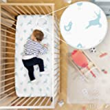 Rabitat Organic Cotton Fitted Cradle Sheet. Bedsheet for Cribs/Cots, 28x52-inch (White, Birds)