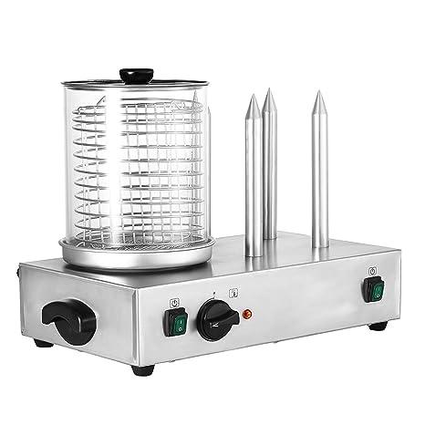 Autovictoria Hot Dog Machine Máquina de perritos calientes con 4 pinchos 2 x 300W Vapor eléctrico ...