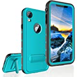 FXXXLTF Case for iPhone XR, Full-Body Protective Slim Case with Built-in Screen Protector Waterproof Shockproof Snowproof Clear Cover Case for iPhone XR (6.1 Inch) (Teal&Stand)