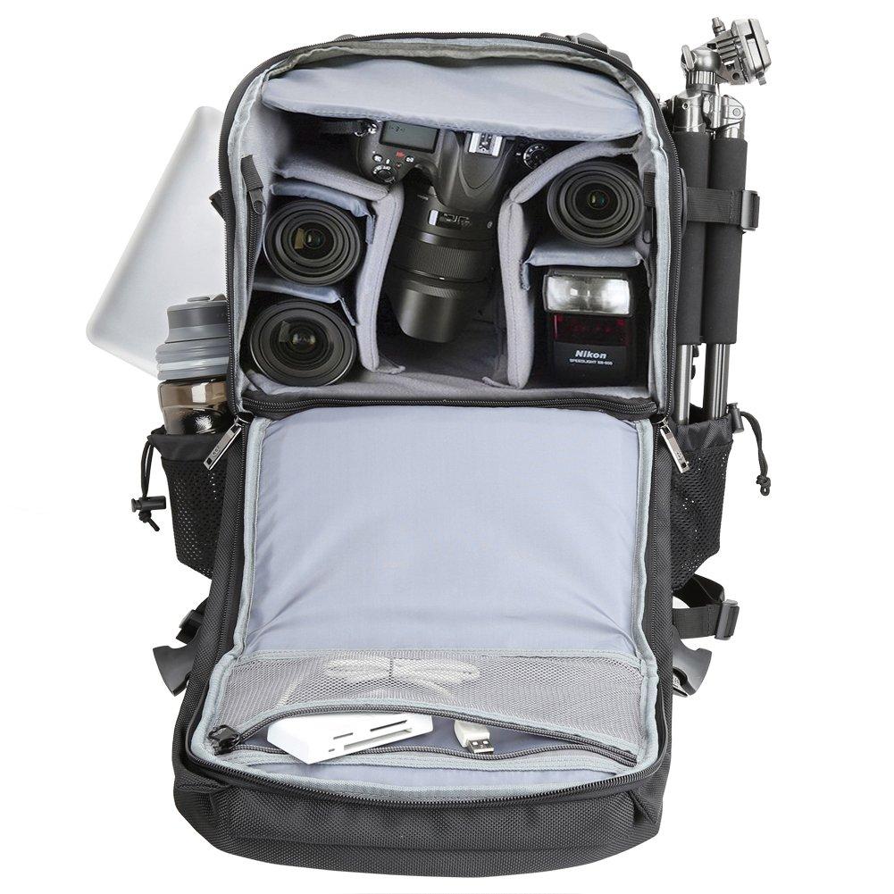 Multifonction Evecase Grand Sac /à Dos R/ésistant /à leau pour Cam/éra et Appareil Photo Digitale Num/érique R/éflex DSLR Noir pour Canon Nikon