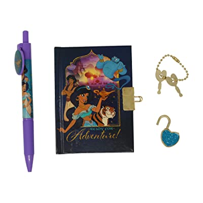 Disney Princess Jasmine and Aladdin Journal Locked Mini Diary for Kids with Pen: Office Products
