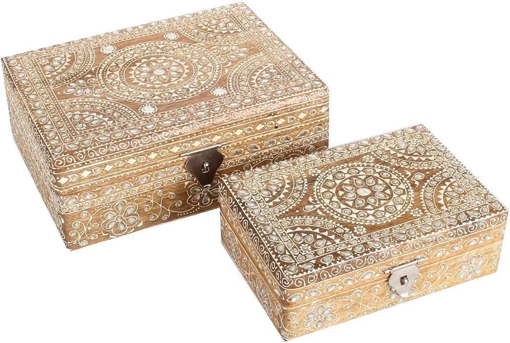 2 cajas de joyas orientales Padmini en un juego de 2 unidades de artesanía pura pintada a mano joyas caja de madera original idea de regalo para la mujer novia Navidad RK10-20:
