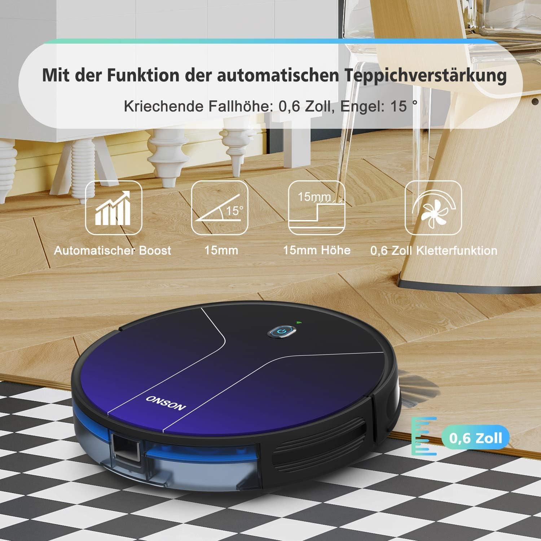 sols durs Compatible avec App//Alexa Pour poils danimaux 2100 PA Robot aspirateur sans fil Onson J20C tapis Avec navigation intelligente Forte puissance daspiration