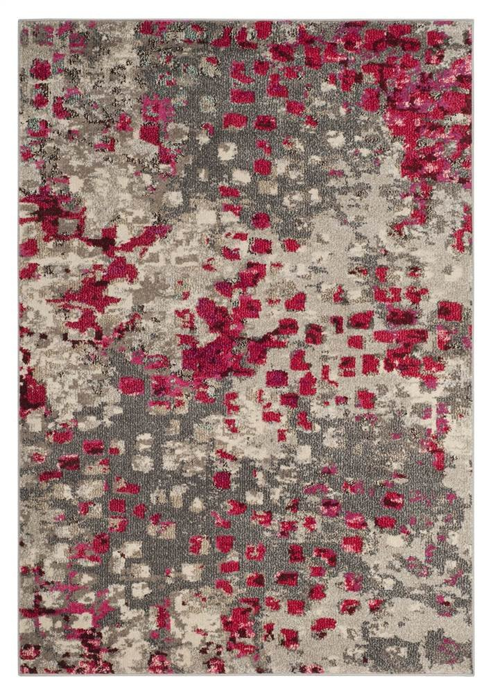 Safavieh Monaco Collection MNC225F Modern Abstract Watercolor Fuchsia Pink Runner Rug (2'2