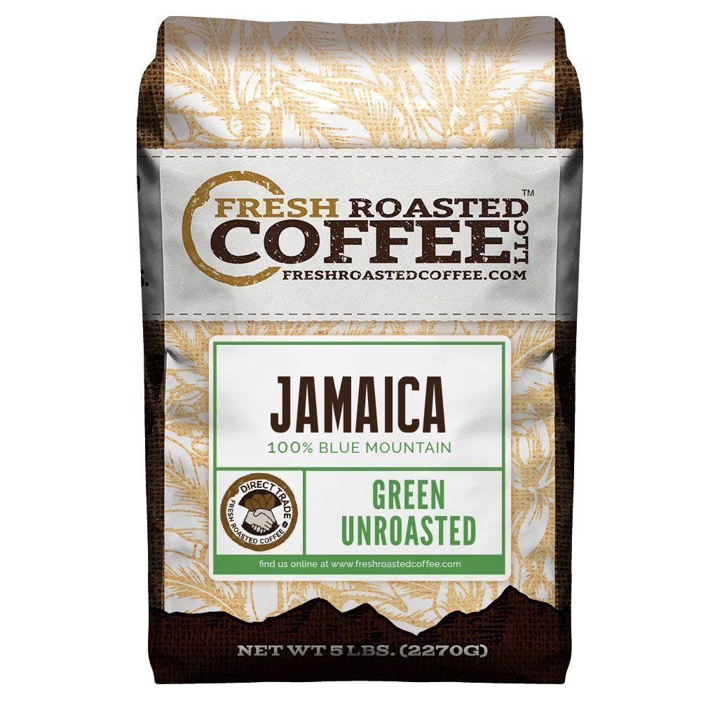 Fresh Roasted Coffee LLC, Green Unroasted 100% Jamaica Blue Mountain Coffee Beans, Direct Trade, 5 Pound Bag by FRESH ROASTED COFFEE LLC FRESHROASTEDCOFFEE.COM