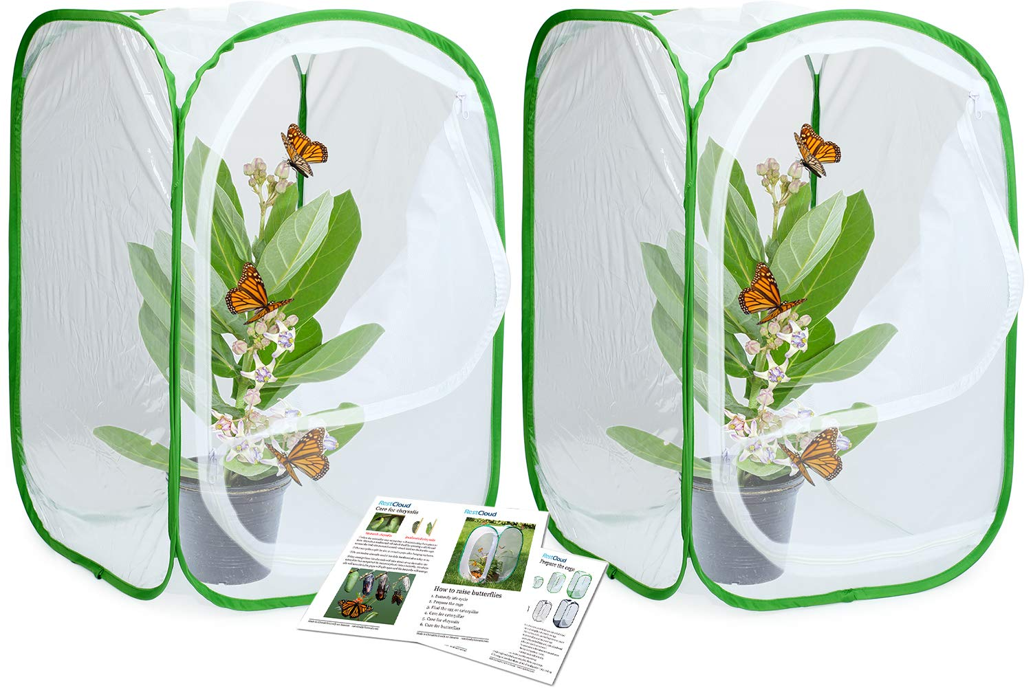 RESTCLOUD 2-Pack Insect and Butterfly Habitat Cage Terrarium Pop-up 24 Inches Tall by RESTCLOUD