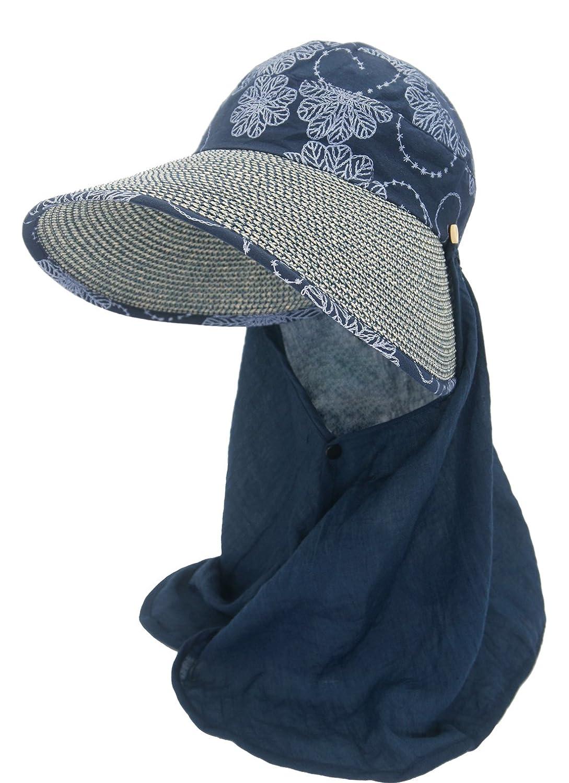 Roffatide Damen Sonnenhut mit Nackenschutz Sommerhüte Für Frauen UV schutz Outdoor Strohhut Aufrollen Bogen Mütze RT8004-3