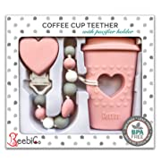BPA Free Pacifier Clip Holder Set - Baby Teething Toys - Silicone Chew Beads and Coffee Cup Teether with Heart for Babies - Unique Newborn Baby Girl Gifts - Perfect Present for New Mom - Candy Pink