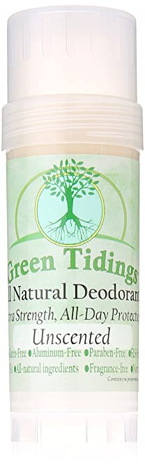 Green Tidings Organic All Natural Deodorant, Unscented, 2.7 Ounces